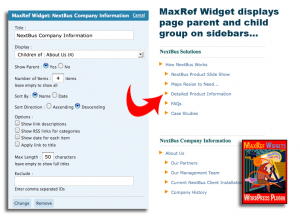 MaxRef Widgets displays page parent and child group on sidebars