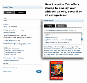Content Marketing plugin New Tab to set MaxRef Widgets to display in selected blog categories only